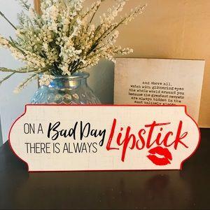 Metal Lipstick Themed Sign